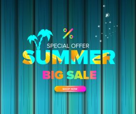 Summer sale poster with wooden background vector 07