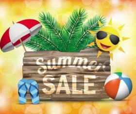Summer sale wooden sign with background vector
