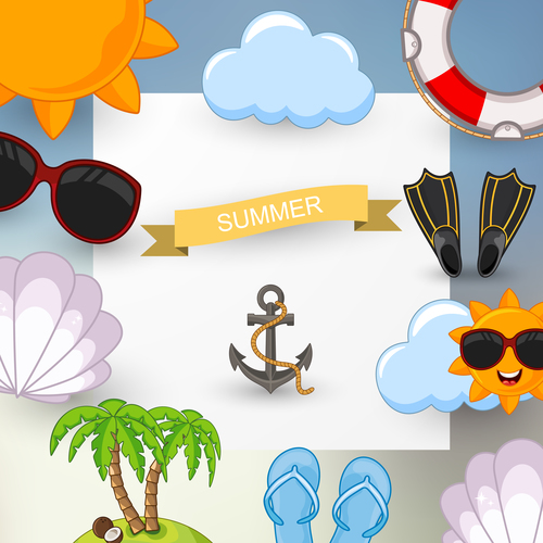 Summer travel elements with white paper background vector