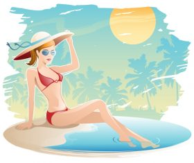 Summer travel with beautiful woman vector 01