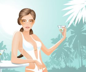 Summer travel with beautiful woman vector 02