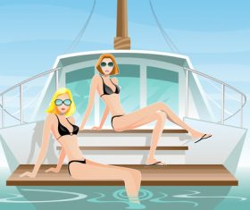 Summer travel with beautiful woman vector 03
