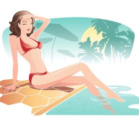 Summer travel with beautiful woman vector 04