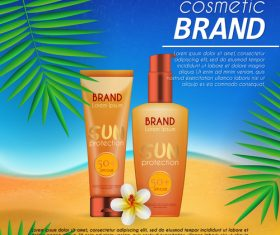 Sun protection cosmetic poster vector 02
