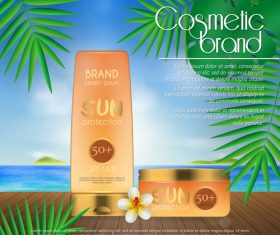 Sun protection cosmetic poster vector 03