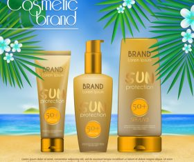 Sun protection cosmetic poster vector 05