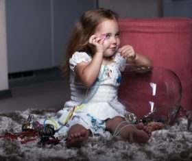 Super cute little girl Stock Photo 03
