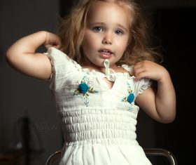 Super cute little girl Stock Photo 04