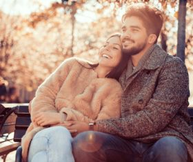 Sweet couple outdoor dating Stock Photo 02
