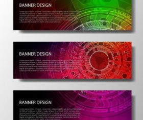 Tech modern banners template design vector