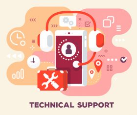 Technical support business flat template vector