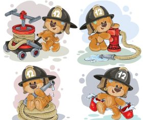 Teddy bear firefighter with rescue equipment  – vector 01