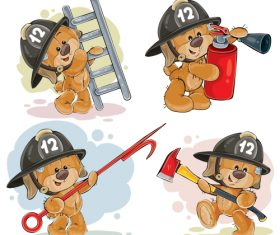 Teddy bear firefighter with rescue equipment  – vector 02