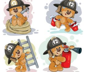 Teddy bear firefighter with rescue equipment  – vector 03