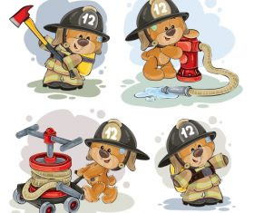 Teddy bear firefighter with rescue equipment  – vector 04