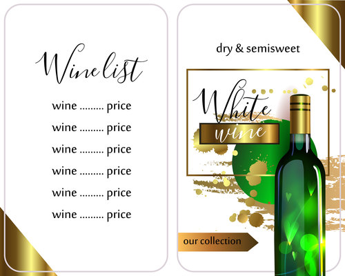 Template of wine list vector material 04