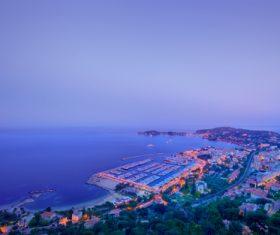 The coastal city under the night Stock Photo