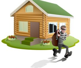 Thief with house vector 01
