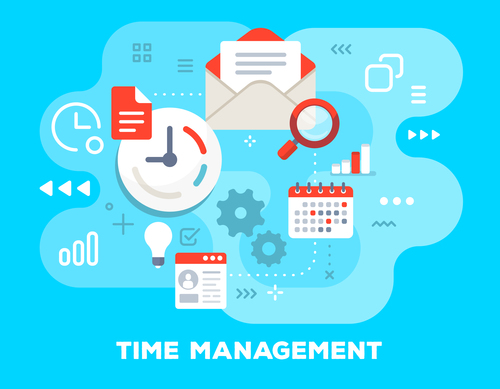 Time management business flat template vector