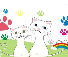 Two cats vector