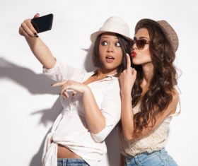 Two fashion girls selfie Stock Photo