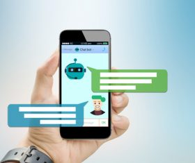 Use smart phone to chat online Stock Photo 01