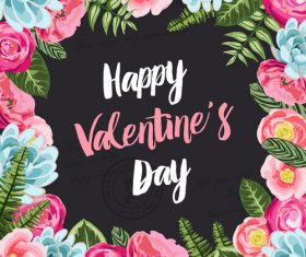 Valentine day flower frame vector