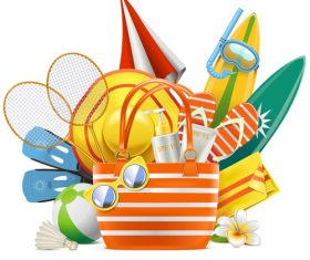 Vector Beach Accessories with Bag vector