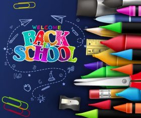 Vector back to school background material 02