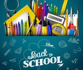 Vector back to school background material 03
