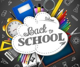 Vector back to school background material 04