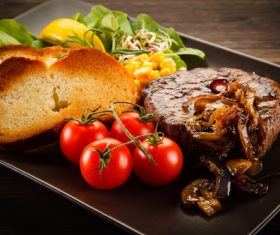 Vegetables with toast and steak Stock Photo 01