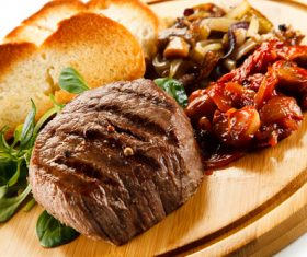 Vegetables with toast and steak Stock Photo 02