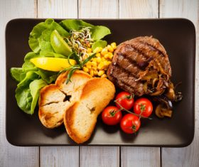 Vegetables with toast and steak Stock Photo 03