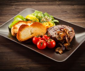 Vegetables with toast and steak Stock Photo 04