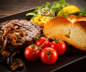 Vegetables with toast and steak Stock Photo 05