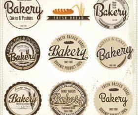 Vintage bakery labels design vectors 01