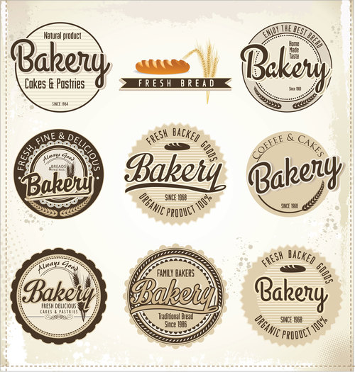 Vintage bakery labels design vectors 01