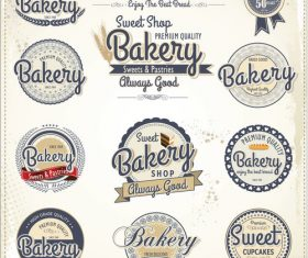 Vintage bakery labels design vectors 02
