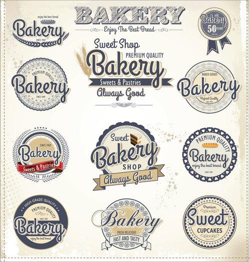 Vintage bakery labels design vectors 02