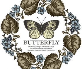Vintage butterfly background vector design 01