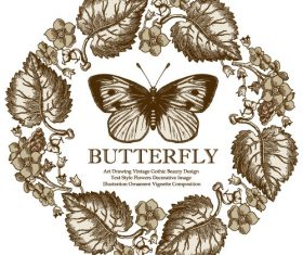 Vintage butterfly background vector design 02