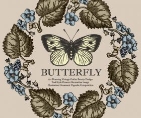 Vintage butterfly background vector design 03