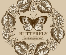 Vintage butterfly background vector design 04
