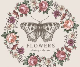 Vintage butterfly background vector design 05
