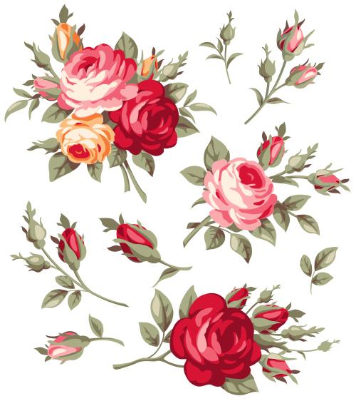 Vintage Rose Flowers Vector Free Download