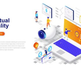 Virtual reality isometric concept template vector