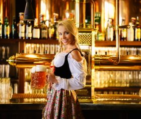 Waitress holding two glasses of beer Stock Photo 04