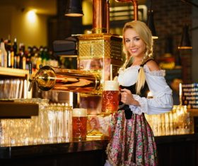 Waitress holding two glasses of beer Stock Photo 08