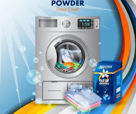 Washing powder advertising poster template vector 01